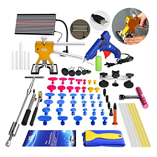 Super PDR 68Pcs Auto Body Paintless Dent Removal Tools Kit LED Reflect Light Board Dent Lifter Bridge Puller Set For Car Hail Damage And Door Dings (Motorcycle Labor Guide)