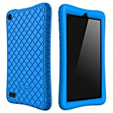 Bear Motion Silicone Case for All-New Fire 7 Tablet with Alexa - Anti Slip Shockproof Light Weight Kids Friendly Protective Case for Amazon Kindle Fire 7 (ONLY for 7th Generation 2017 Model) (Blue)