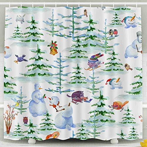 Shorping 78x72 Shower Curtain,Kids Shower Curtain, Pattern Animals Snowman in Watercolor White Background Cartoon Pattern a Waterproof Decor Bathroom Set with Hooks ()