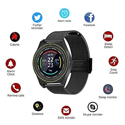 TelDen Smart Watch, Fitness Tracker Bluetooth Watch Phone with Heart Rate, Sleep Monitor for Kids Women Man, Activity Tracker with Touch Screen, Remote Camera Compatible iPhone/Android/iOS