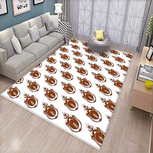 - American Football Anti-Skid Rugs Speedy Flaming Rugby Balls Fire Trails Champion Winner Concept Design Girls Rooms Kids Rooms Nursery Decor Mats Brown White