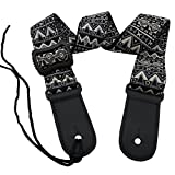 LONGTAI Classical Ukulele Shoulder Straps Soft Cotton Bohemian Geometric Pattern with Button,Neck Ties for Hawaiian Guitar