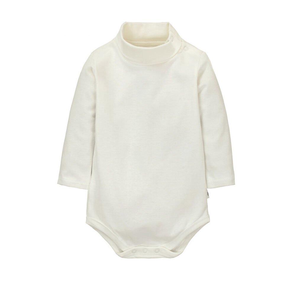 CuteOn Baby Boys Girls Solid Color Basic Turtleneck Cotton Bodysuit Jumpsuit Gray 6 Months