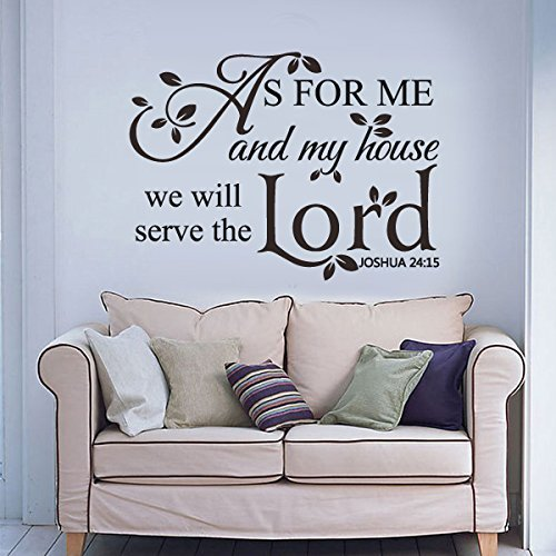 As For Me And My House We Will Serve The Lord – Vinyl Bible Wall Decal Christian Wall Quote Words Phrase Lettering Home Art Decor Black