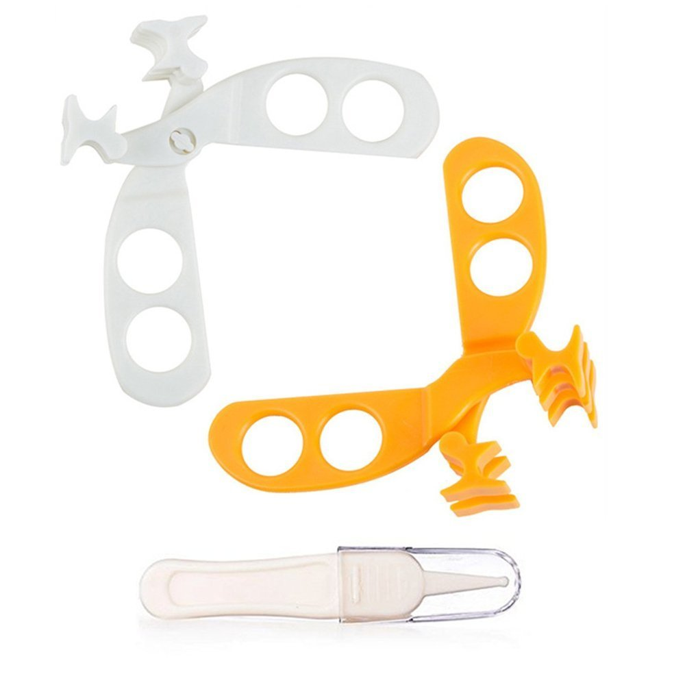 Baby Food Scissors Orange&White Set of 2, LASLU Versatile Food Cutter for Babies Portable Food Shearer with a Cleaning Tweezers