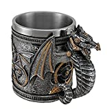 Steampunk Mechanical Dragon Silver Coffee Mug Stainless Steel New by Unbranded
