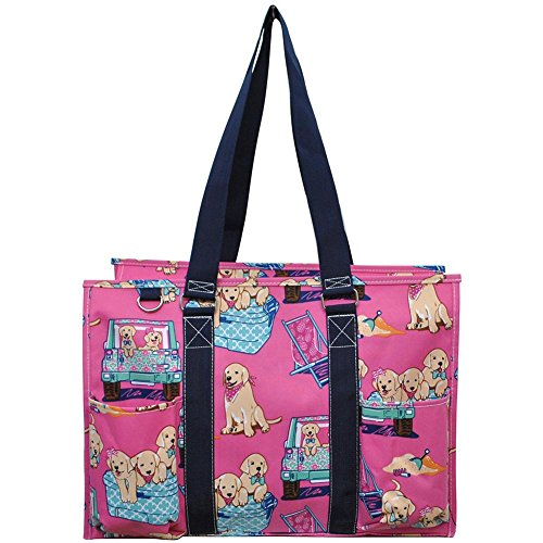 "N. Gil All Purpose Organizer 18"" Large Utility Tote Bag 3 (Puppy Navy Blue)"
