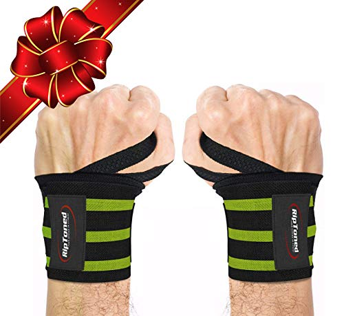 """Rip Toned Wrist Wraps 18"""" Professional Grade with Thumb Loops - Wrist Support Braces for Men & Women - Weight Lifting, Crossfit, Powerlifting, Strength Training - Bonus Ebook (Green Stiff)"""