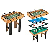 HOMCOM 4-In-1 Multi Game Table Kids Indoor Activity with Table Tennis Billiard Foosball Hockey