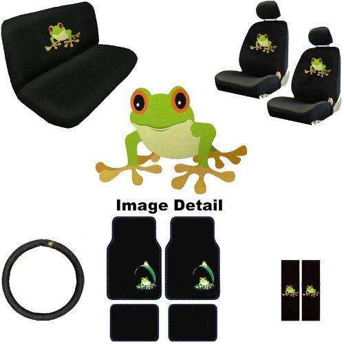 Unique Imports 15PC Green Frog Shield Auto Accessories Interior Combo Kit Gift Set