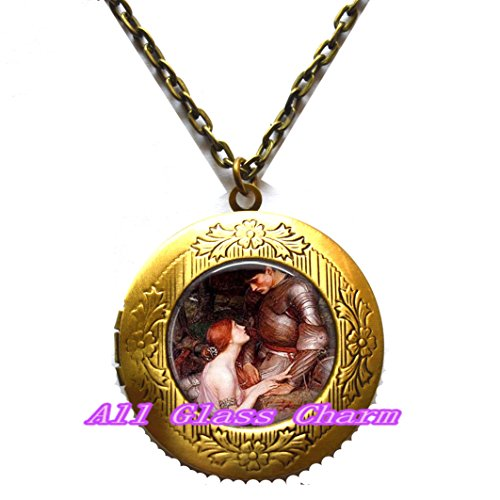 Beautiful Locket Necklace,Lady with her Knight in Shining Armor - Renaissance Art Jewelry - William Painter John