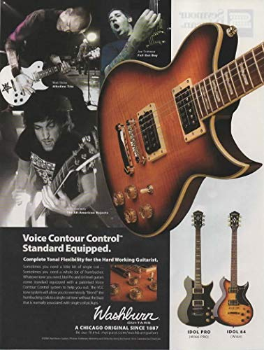 Magazine Print ad: 2006 Washburn IDOL PRO W166, IDOL 64 W164 Electric Guitars, with Matt Kiba, Mike Kennerty, Joe Trohman,