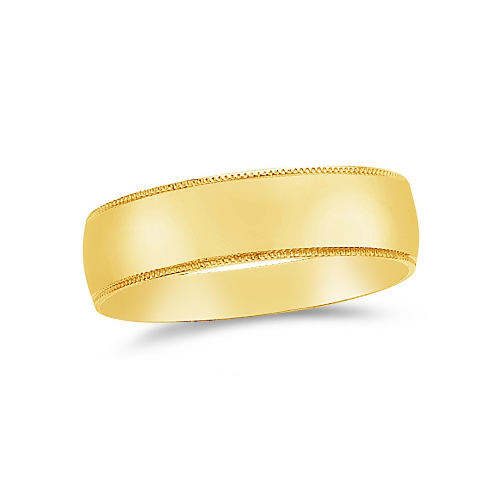 Size Jewel Tie Solid 14k Yellow Gold 6mm Milgrain Mens Wedding Ring Band 10.5