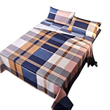 uxcell® bed sheets set,100% cotton 4-piece checkered bedding sets fitted sheet flat sheet 2 pillowcase Twin Size # 2