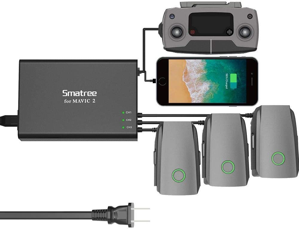 Smatree Mavic 2 Pro Battery Charger, 5 in1 Rapid Smart Battery Charger Hub (Charge 3 Batteries & 2 USB Ports Simultaneously) with 180W Rapid Battery Power Adapter Compatible with DJI Mavic 2 Pro/Zoom