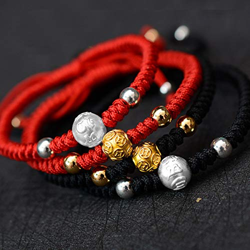 ALISETHEL Good Luck Bracelet Tibetan Buddhist Handmade Knots Lucky Rope Bracelet with 999 Silver Beads Charm Engraved Coins Blessed Good Luck Knots