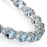 925 Sterling Silver Round Classic Simulated Tanzanite & Diamond Tennis Bracelet
