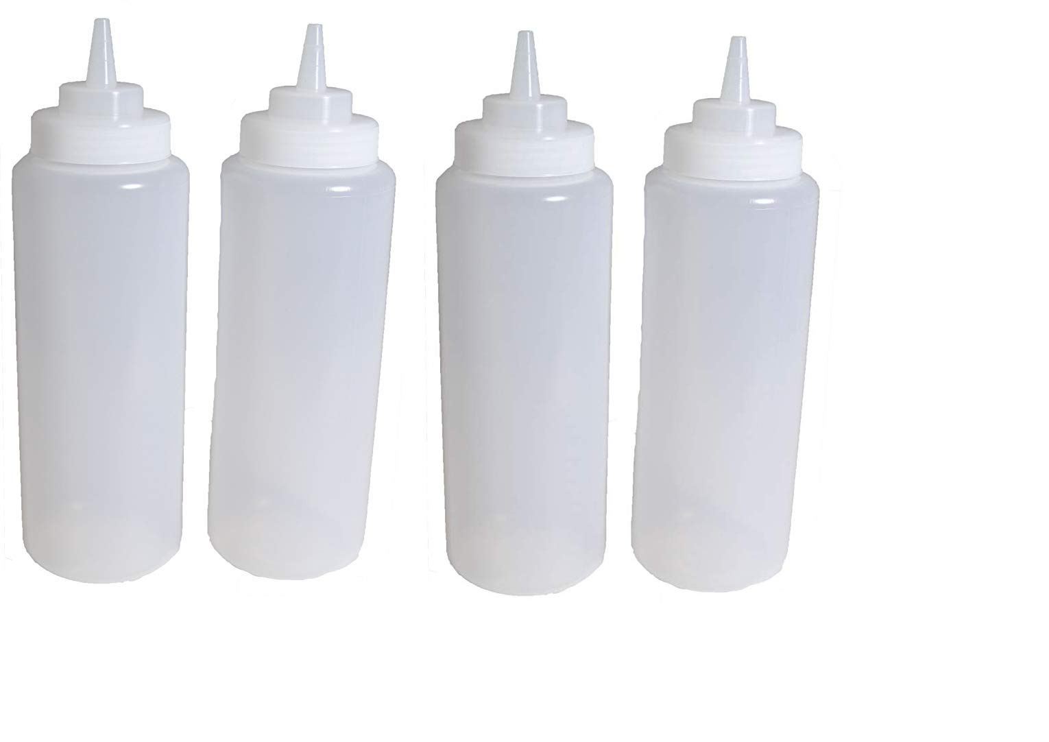 4 Plastic Squeeze Bottles. Clear Condiment Bottles. Ketchup. Mustard, Oil Squeeze Bottle. BBQ Grill Kitchen Cookout Storage Squeeze Bottles. by KITCHEN TOOLS (Image #3)