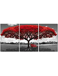 LKY ART Wall Art 3 Panel Red Tree Oil Painting Abstract Art Wall Scenery  Picture ForShop Amazon com   Paintings. Living Room Paintings. Home Design Ideas
