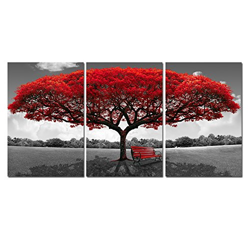 (LKY ART Wall Art 3 Panel Red Tree Oil Painting Abstract Art Wall Scenery Picture for Living Room Wall Decor Oil Paintings Framed Stretched Easy to Hang 24x48Inch)