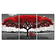 3 Panel Red Tree Canvas Oil Paint Set For Home Décor Giclee Artwork The Picture For Living Room Wall Art For Bedroom Modern Decoration Photo Prints On Canvas Framed Stretched Ready To Hand 24x48Inch
