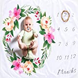 XNX Baby Milestone Blanket Baby Monthly Blanket Boy Baby Shower Newborn Photography Props Premium Fleece - New Mom