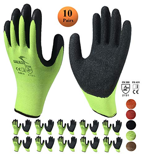 Nitrile Latex Rubber Coated Safety Work Gloves, Nylon Knit, Textured Palm Grip ( 10 Pair Pack, Green/Black, size large fits most -
