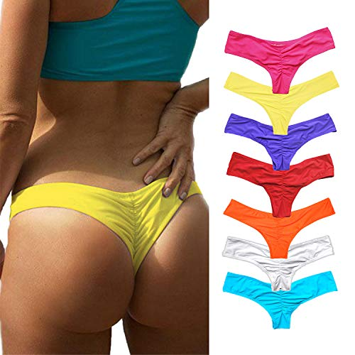 YOFIT Women's Bikini Thong Bottom Brazilian Sexy Ruched T Back Cheeky T String Yellow M