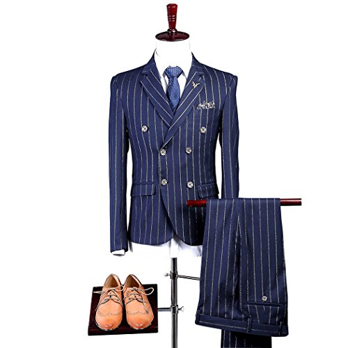 Mens Blue with Gold Pinstriped Suit 3 Pieces Double Breasted 6 Buttons Classic-Fit Blazer Waistcoat Pants