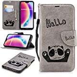 Misteem Cartoon Case Huawei P20 Lite, Cute Retro Panda Pattern Leather Cases Flip Shockproof Card Holder Bookstyle/Stand / Magnetic Wallet Cover Protector Huawei P20 Lite - Panda Grey