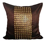 The White Petals Dark Brown Gold Decorative Pillow Cover with Gold Sequins and Wood Bead Embroidery in Panel Pattern (16x16 inch, Dark Brown)