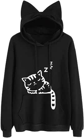 Letsenvy Women Long Sleeve Shirt Hooded Tunic Top Cute Cat Ear Pullover Sweatshirt with Kangaroo Pockets Slogan Letter Print I'm a cat Jumper Blouse Casual Animal Design T-Shirt