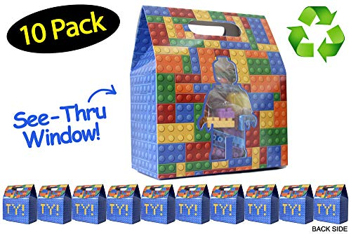 Building Blocks Bricks Party Favor Bags Made From Recycled Paper // 10 Pack]()