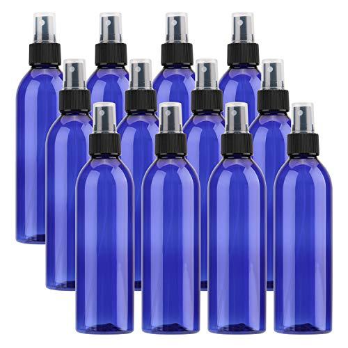 Tosnail 12 Pack 8 Ounce Plastic Spray Bottles Mist Spray Bottle with Black Fine Mist Sprayer - Blue