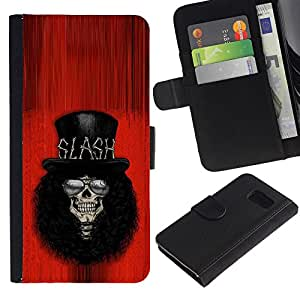 ZCell / Samsung Galaxy S6 / Rock Guitar Player Red Top Hat Famous / Caso Shell Armor Funda Case Cover Wallet / Rock guitarra jugador Rojo Top Som