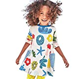 Clearance Sale!OverDose Toddler Kids Baby Girls Dress Long Sleeve Cartoon Flower Dresss Tunic Outfits Children Costume(7T, White)