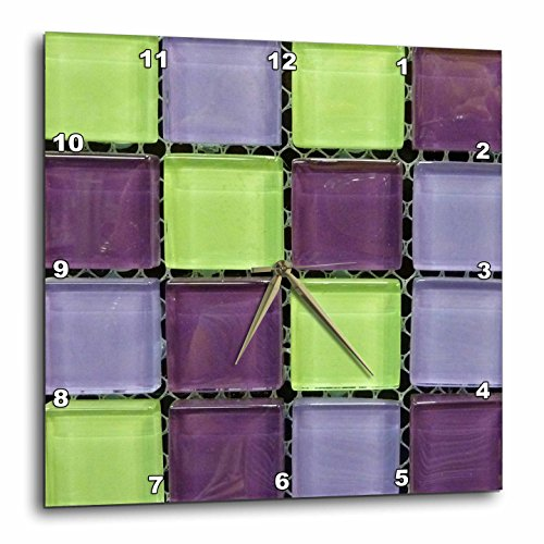 3dRose 3D Rose Popular Green n Purple Glass Tiles On Grid-Wall Clock, 15-inch (DPP_53288_3)