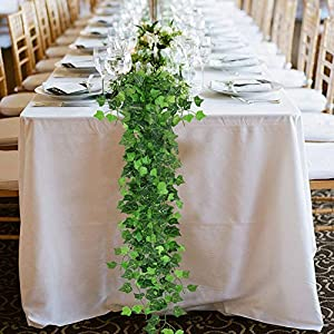ElaDeco 94 ft 12 Pack Artificial Ivy Garland Vine,Plastic Ivy Vines Fake Ivy Garland for Wedding Party Decoration Garden Wall Greenery Decoration 6