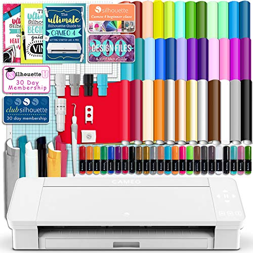 Silhouette White Cameo 4 Starter Bundle with 36 Oracal Vinyl Sheets, T-Shirt Vinyl, Transfer Paper, Class, Guides and 24 Sketch Pens (Best Silhouette Cameo 3 Bundle)