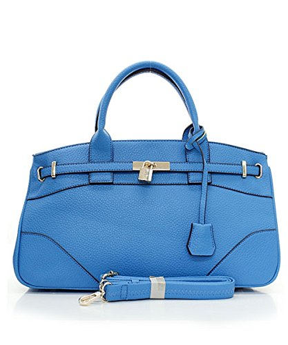 Large Faux Leather Key Lock Accent Fashion Handbag with Shoulder Strap (Blue) (Wholesale Coach Inspired Handbags)