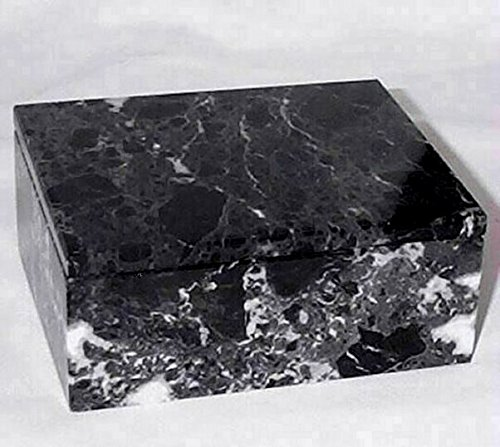 - Khan Imports Decorative Black Marble Box, Stone Box with Lid - Rectangular, 5 Inch
