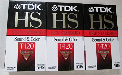 TDK HS T-120 Blank VHS Video Tapes [3 Pack] (Rare Vhs Tapes)