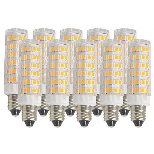 Ashialight E11 LED Bulb,Soft White,Equal 120 Volt 50 Watt JD T4 E11 Mini Candelabra Base Halogen Bulb Replaces T4 /T3 JD Type Clear Light Bulb (Pack of 10) - 120 Volt T4 Miniature Candelabra