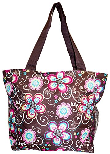 World Traveler Brown Pastel Floral Print 19-inch Travel Tote Bag