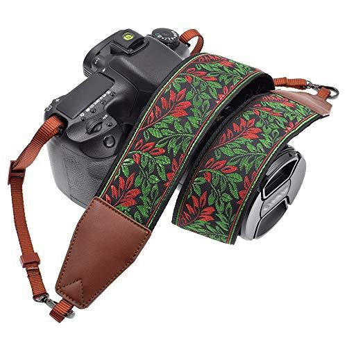 LIFEMATE Camera Strap Shoulder Neck Belt for All SLR/DSLR (Green and Red Leaves)