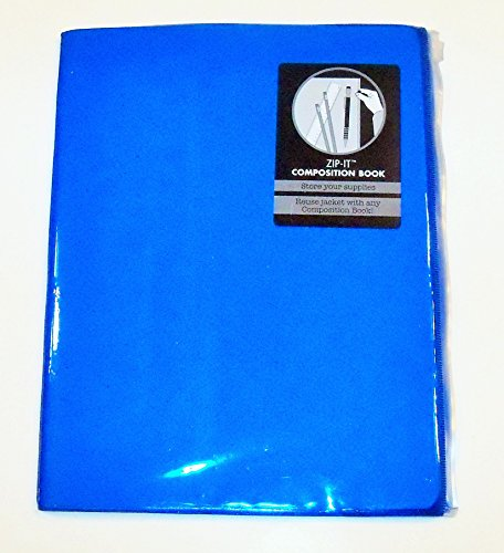 Carolina Pad Studio C Zip-it Wide Ruled Composition Book with Reusable Zipper Pouch Cover ~ Neon Blue (7.5