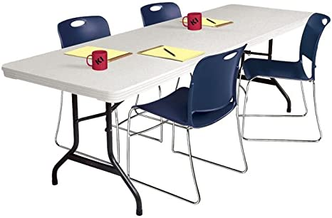 Amazon Com Lightweight Plastic Folding Table 72 X 30 Speckled White Black Frame Dimensions 72 W X 30 D X 29 H Weight 38 Lbs Kitchen Dining