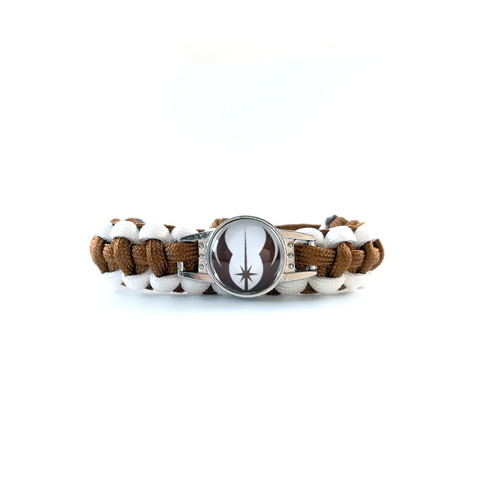 Star Wars - Bracelet - Ordre Jedi - Bracelet tressé (Fait main) - Homme Femme - Marron et Blanc - Taille ajustable JARL