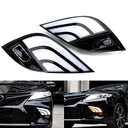 iJDMTOY Switchback LED Daytime Running Lights Assy For 18-up Toyota Camry SE/XSE, JDM Style White/Amber DRLs w/Sequential Flash Turn Signal Feature