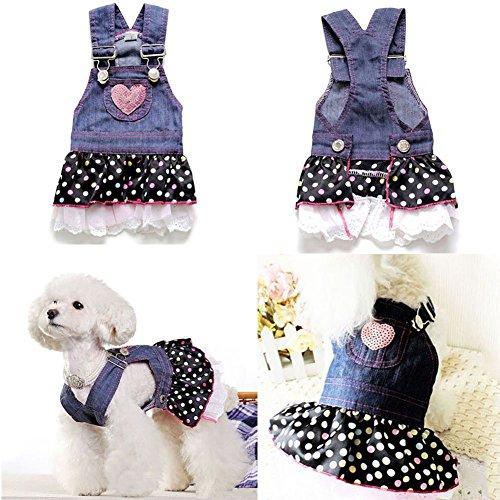 Adarl Cute Denim Strap Chiffon T-Shirt Dress Coat Clothes Apparel Costume For Dogs Cats Puppy Pets XS